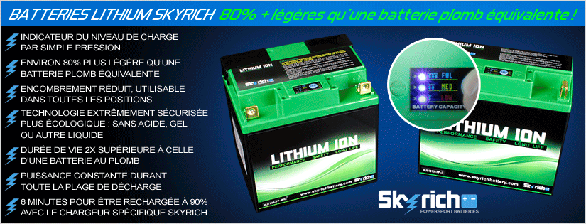 Batteries Lithium Skyrich : 80 pourcent plus légères qu'une batterie plomb équivalente !