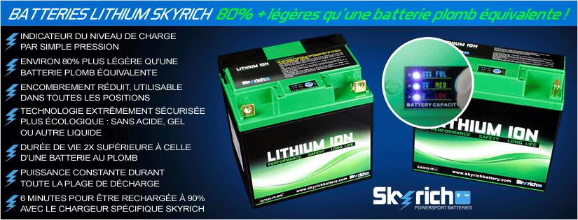 Batteries Lithium Skyrich : 80 pourcent plus légères qu'une batterie plomb équivalente !